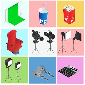 Zestaw kolorowych obiektów kina lub filmu w stylu 3d.