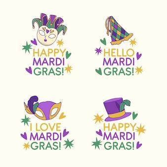 Zestaw kolorowych odznak mardi gras