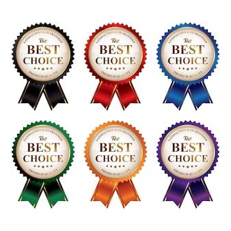 Zestaw kolorowych odznak najwyższej jakości z najlepszym wyborem ze wstążką