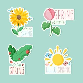 Zestaw kolorowych odznak z wiosennym motywem tematycznym