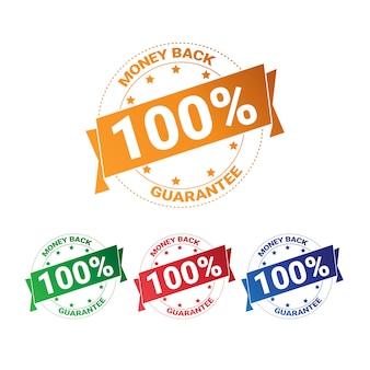 Zestaw kolorowych odznaka pieniądze z gwarancją 100 procent kolekcja na białym tle