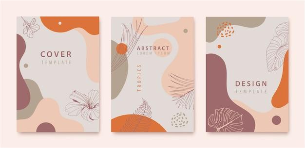 Zestaw kolorowych okładek. abstrakcyjne kształty i liście.