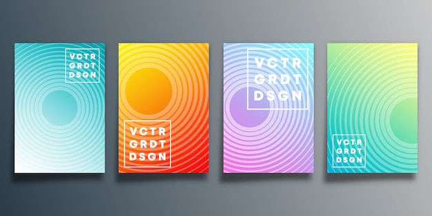 Zestaw kolorowych okładek gradientu z linią do tła, ulotki, plakatu, broszury, typografii lub innych produktów poligraficznych. ilustracji wektorowych