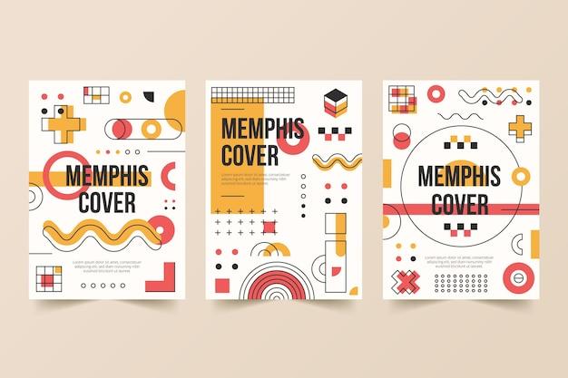 Zestaw kolorowych okładek memphis design