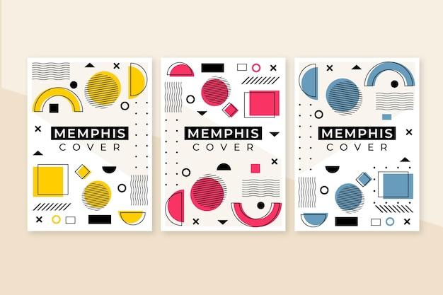 Zestaw kolorowych okładek memphis