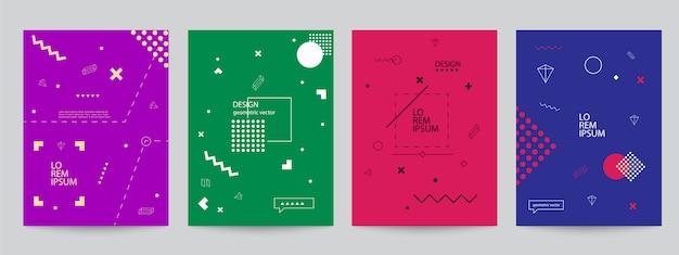 Zestaw kolorowych okładek o minimalnym wyglądzie i geometrycznych formach