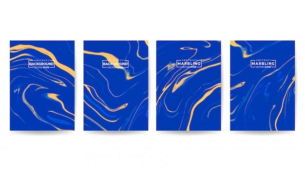 Zestaw kolorowych okładek z niebieskim marmurem