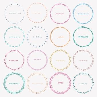 Zestaw kolorowych okrągłych ramek