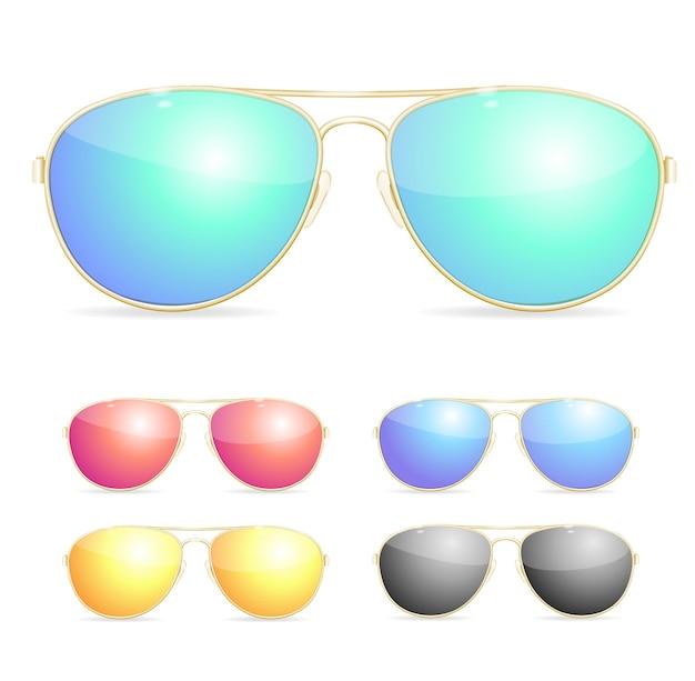 Zestaw kolorowych okularów przeciwsłonecznych aviator.