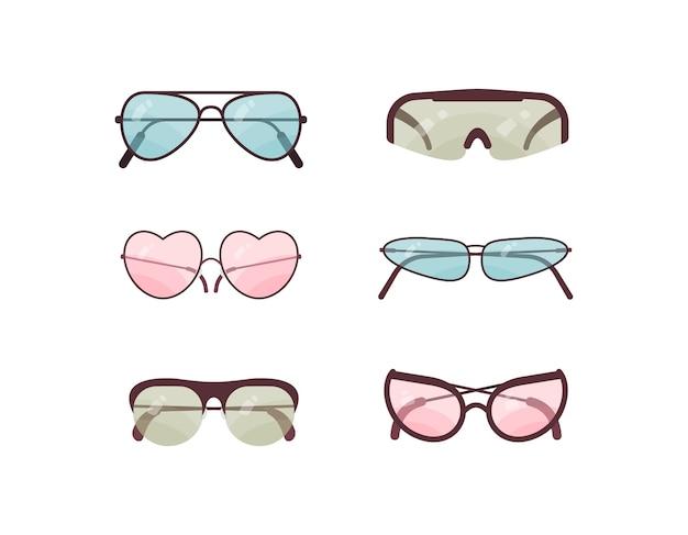 Zestaw kolorowych okularów przeciwsłonecznych. kolekcja plastikowych oprawek do okularów. letnia ochrona przeciwsłoneczna.