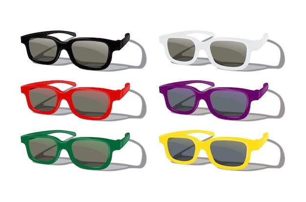Zestaw kolorowych okularów przeciwsłonecznych na białym tle.