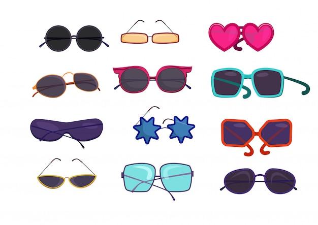 Zestaw kolorowych okularów w kształcie