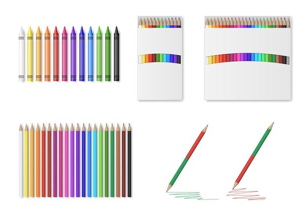 Zestaw kolorowych ołówków i kredek ilustracji