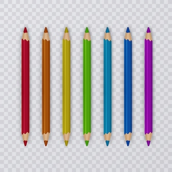 Zestaw kolorowych ołówków na przezroczystym