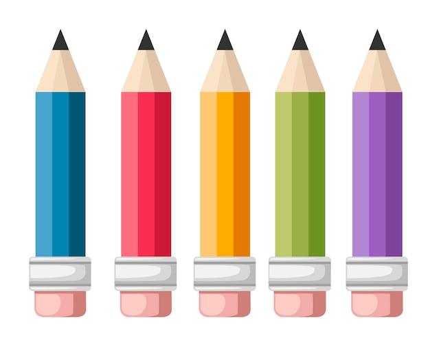 Zestaw kolorowych ołówków. pięć ołówków z gumką. styl kreskówki. ilustracja wektorowa na białym tle