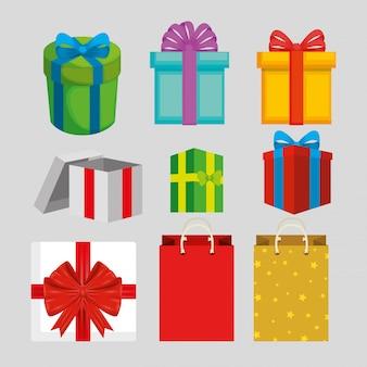 Zestaw kolorowych opakowań na prezenty
