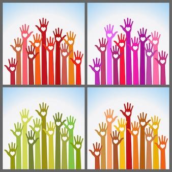 Zestaw kolorowych opieki w dłoniach serca w jasnych kolorach. wolontariusze ręce do góry z sercem
