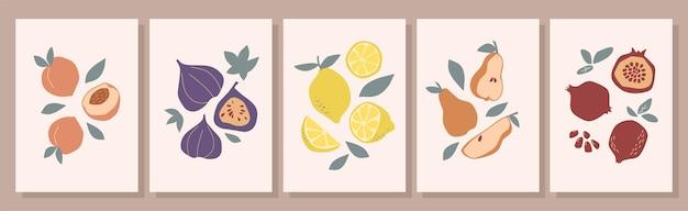 Zestaw kolorowych owoców martwa natura na beżowym tle. ręcznie rysowane brzoskwinie, figi, gruszki, granat, cytryny. kolekcja sztuki współczesnej. projekt do druku, mediów społecznościowych, plakatów, pocztówek