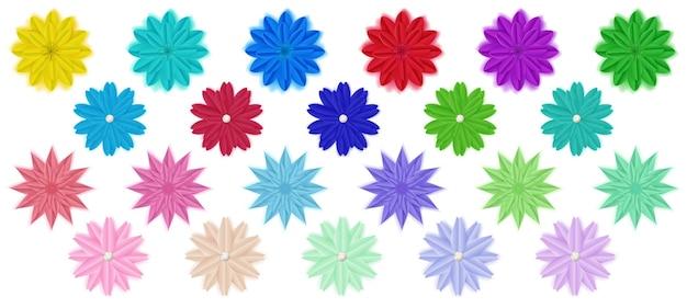Zestaw kolorowych papierowych kwiatów z cieniami, izolowana na białym tle