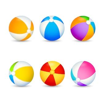 Zestaw kolorowych piłek plażowych