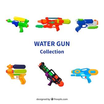Zestaw kolorowych pistoletów na wodę z tworzywa sztucznego