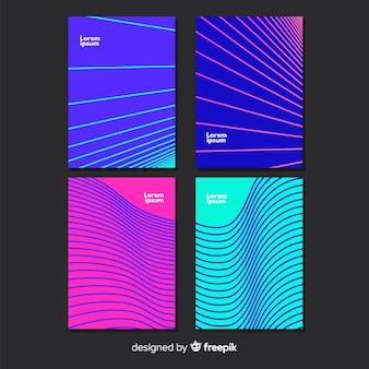 Zestaw kolorowych plakatów geometrycznych linii