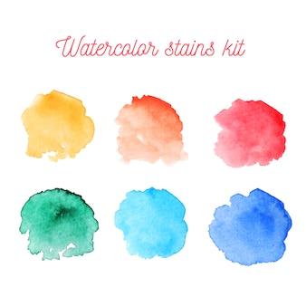 Zestaw kolorowych plam akwarelowych
