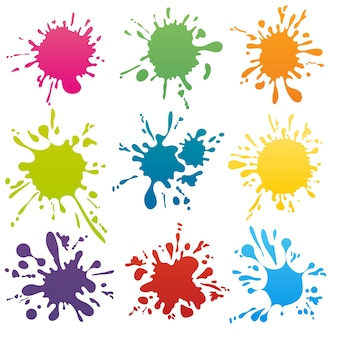 Zestaw kolorowych plam atramentowych. splash splatter abstrakcyjny kształt. ilustracji wektorowych