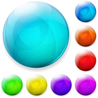 Zestaw kolorowych plastikowych lub szklanych guzików
