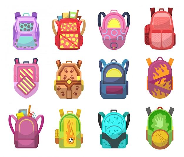 Zestaw kolorowych plecaków szkolnych. edukacja i nauka z powrotem do szkoły, bagaż szkolny, plecak. kolekcja torebek studenckich. ilustracja kolor