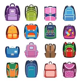 Zestaw kolorowych plecaków. torby szkolne dla dzieci na białym tle