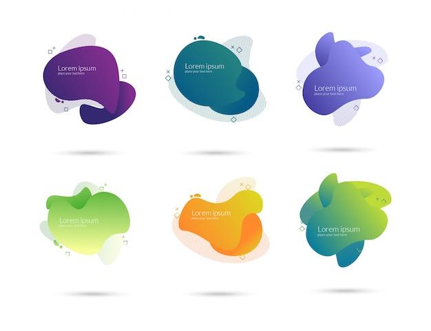Zestaw kolorowych płynnych elementów gradientu