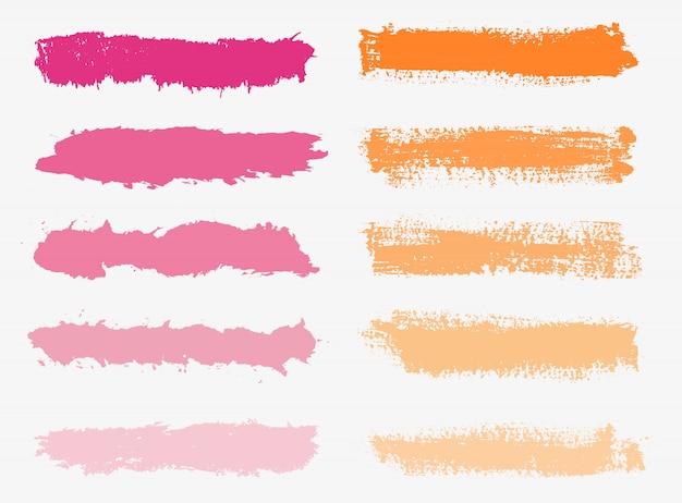 Zestaw kolorowych pociągnięć pędzla