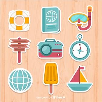 Zestaw kolorowych podróży elementów