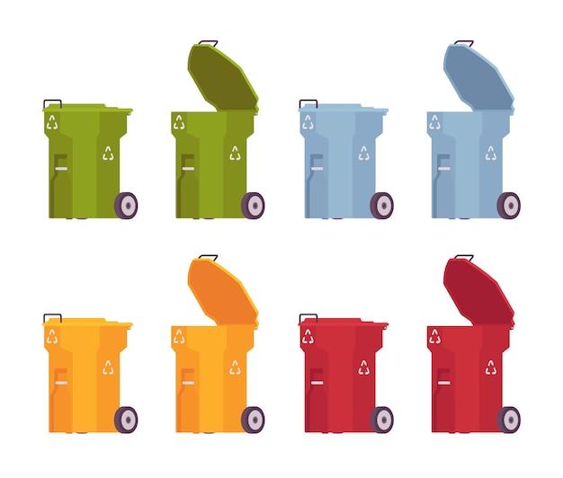Zestaw kolorowych pojemników na śmieci na kółkach, otwartych i zamkniętych