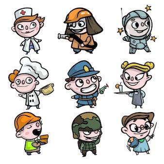 Zestaw kolorowych postaci dla dzieci, zawód różnych ubrań