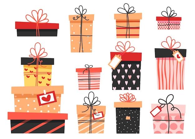 Zestaw kolorowych prezentów, wiele różnych uroczych pudełek z kokardkami.