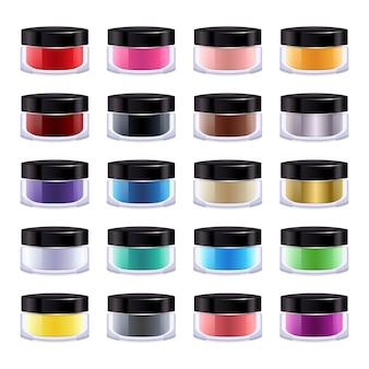 Zestaw kolorowych produktów kosmetycznych w szklanym lub plastikowym słoiku.