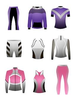 Zestaw kolorowych profesjonalnych ubrań sportowych do biegania lub treningu w hali