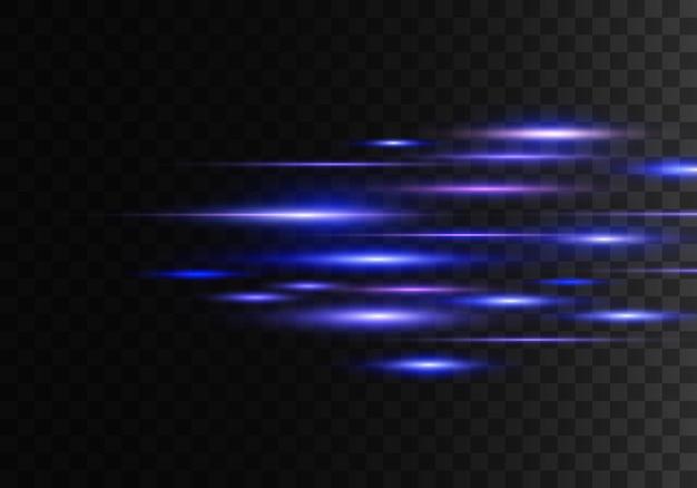 Zestaw kolorowych promieni poziomych, soczewki, linie. wiązki laserowe. niebieskie, fioletowe świecące abstrakcyjne musujące pokryte przezroczyste tło. lekkie rozbłyski, efekt. wektor