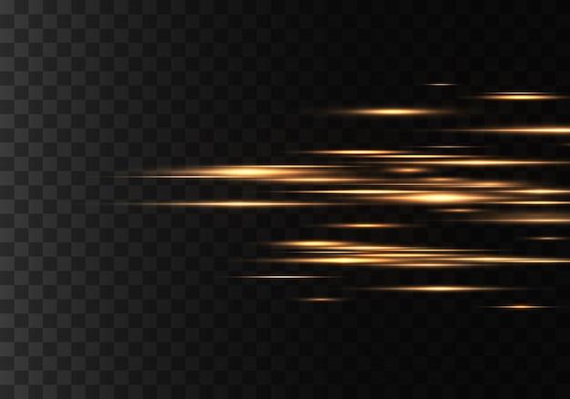 Zestaw kolorowych promieni poziomych, soczewki, linie. wiązki laserowe. żółte, złote świecące abstrakcyjne błyszczące podszewki. lekkie rozbłyski, efekt. wektor