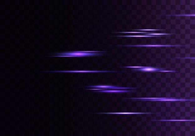 Zestaw kolorowych promieni poziomych, soczewki, linie. wiązki laserowe.