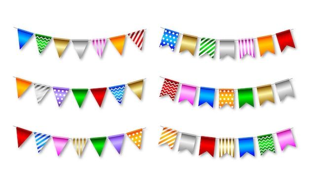 Zestaw kolorowych proporczyków. pojedyncze flagi na urodziny i imprezę