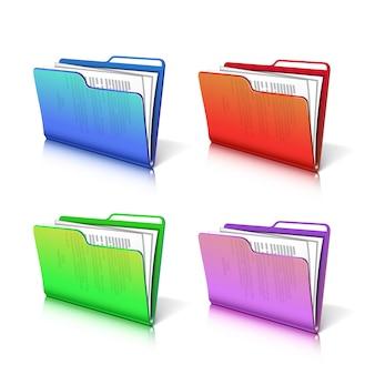 Zestaw kolorowych przezroczystych folderów z dokumentami.