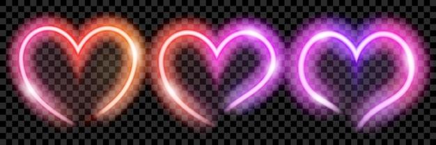 Zestaw kolorowych przezroczystych neonowych serc na przezroczystym tle. przezroczystość tylko w formacie wektorowym
