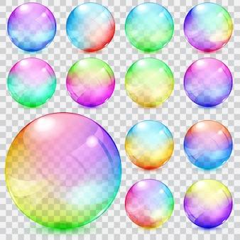 Zestaw kolorowych przezroczystych szklanych kulek