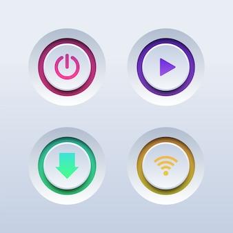 Zestaw kolorowych przycisków 3d. przyciski zasilania, odtwarzania, pobierania i wi-fi.