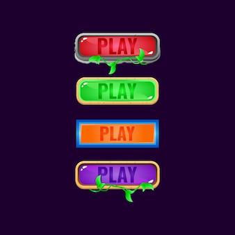 Zestaw kolorowych przycisków galaretki interfejsu gry z różnymi obramowaniami dla elementów zasobu gui