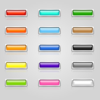 Zestaw kolorowych przycisków internetowych z obramowaniem chrom
