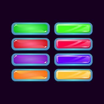 Zestaw kolorowych przycisków w kształcie diamentu i galaretki w grze ui dla elementów aktywów gui